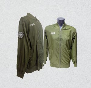 Olive Green Bomber Jacket with silkscreen printing & badge